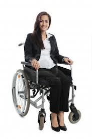 Woman in Wheelchair with Arms